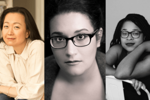 Headshots of Min Jin Lee, Carmen Maria Machado, and Morgan Jerkins