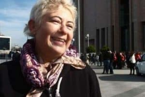 Ayse Duzkan standing outside the Istanbul Prosecutor's Office